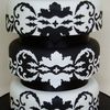 Black and White Damask Wedding Cake