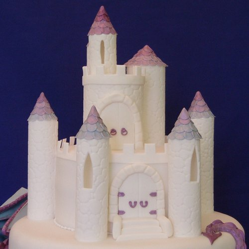 Purple Dragon and Castle Wedding Cake