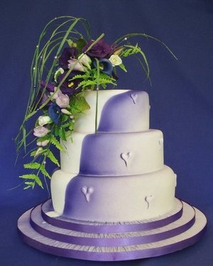 Purple Hearts Wedding Cake